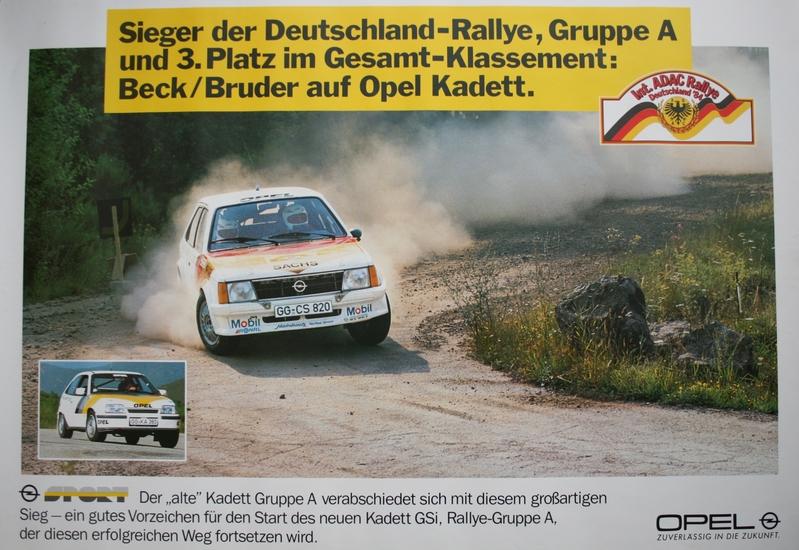 opel motorsport plakat sieger der deutschland rallye gruppe a und 3 platz im gesamtklassement. Black Bedroom Furniture Sets. Home Design Ideas